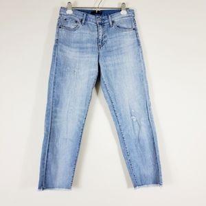 Uniqlo Light Blue Distressed Raw Hem Crop Jeans